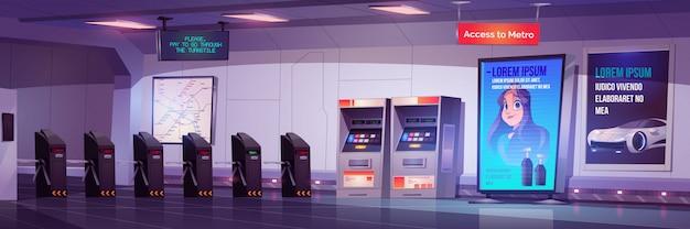 Metro tourniquet toegangspoorten naar metrostation