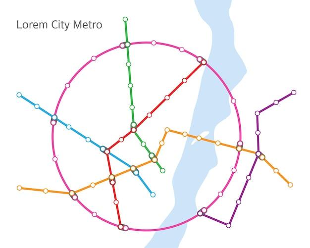 Metrokaart, metrolijnenplan met stations en overgangen. vectorschema van abstracte stad ondergrondse transportroutes. stadsplattegrond met rivier- en metrolijnen