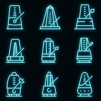 Metronoom pictogrammen instellen. overzicht set van metronoom vector iconen neon kleur op zwart