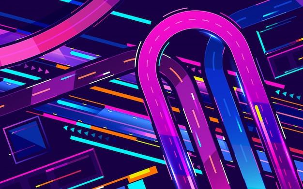 Metropolis nacht snelweg neon kleuren, bovenaanzicht cartoon vector