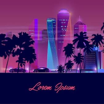 Metropolis nachtleven neon cartoon vector banner