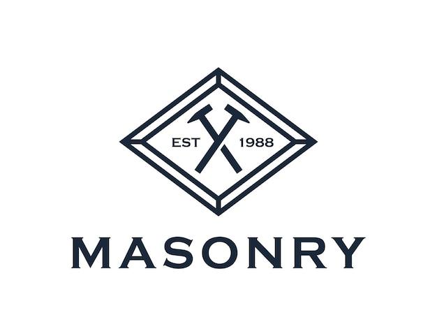 Metselwerk met twee hamer kruis vintage klassiek embleem eenvoudig creatief geometrisch strak logo-ontwerp