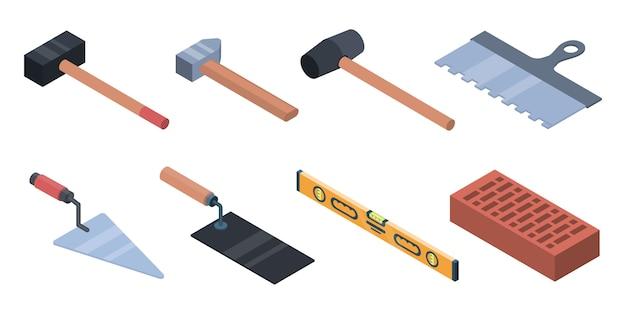 Metselwerk werknemer pictogrammen instellen. isometrische reeks metselwerkarbeider vectorpictogrammen voor webontwerp dat op witte achtergrond wordt geïsoleerd