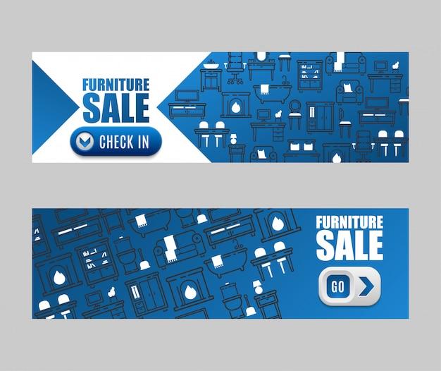 Meubelinrichting ontwerp van woonkamer verkoop banner