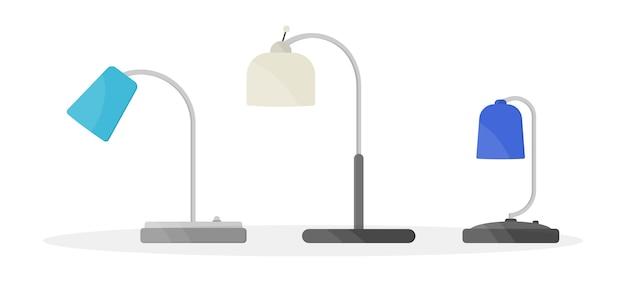 Meubelkroonluchter, vloer- en tafellamp in platte cartoonstijl. kroonluchters, verlichting, zaklamp geïsoleerd op een witte achtergrond. huislicht met lampenpictogrammen.