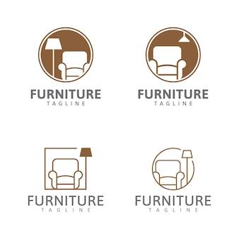 Meubellogo stoel en huis decoratieve verlichting logo ontwerp