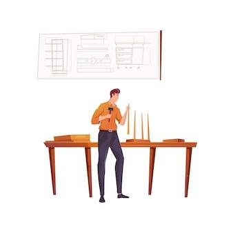Meubelmaker die houten kruk maakt in zijn atelierflat