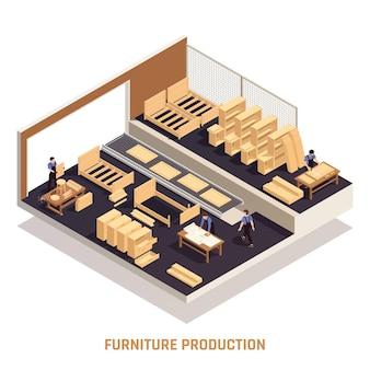 Meubelproductie geïsoleerde isometrische conceptworkshop met afgewerkte meubels