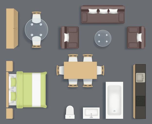 Meubels bovenaanzicht. keuken badkamer en woonkamer interieur objecten stoel bank tafel planning realistische fotocollectie. illustratie meubels badkamer en bank, interieur boven
