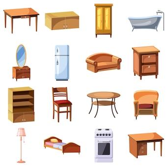 Meubels en huishoudelijke apparaten iconen set