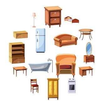 Meubels en huishoudelijke apparaten pictogrammen instellen