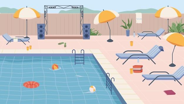 Meubels en paraplu's opblaasbare reddingsboei en bal bij zwembadfeestscène bij luxe waterresort