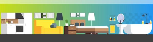 Meubels en woonaccessoires banner met vector platte bank, boekenplank, bed, badkamer, keuken, enz.