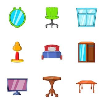 Meubels iconen set, cartoon stijl