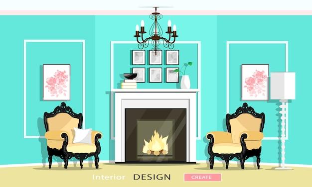 Meubels in klassieke vintage stijl in een woonkamer: open haard, fauteuils, kroonluchter, lamp. vlakke stijl illustratie