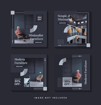 Meubels minimalistische social media post-sjablooncollectie