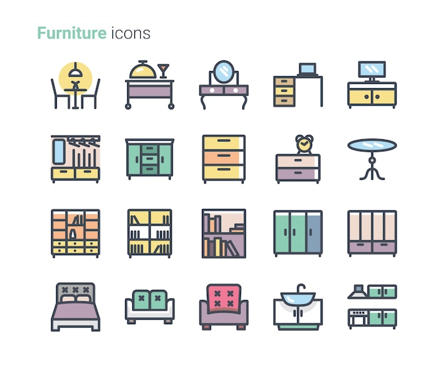 Meubels pictogram collectie