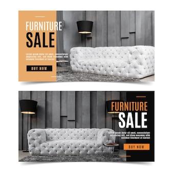 Meubels verkoop banners collectie met afbeelding