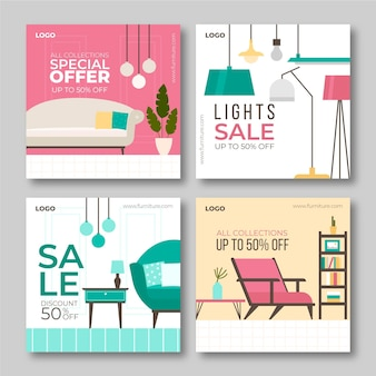 Meubels verkoop instagram posts collectie