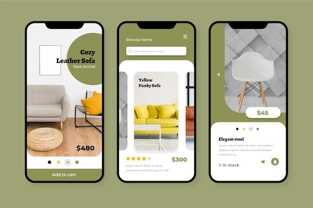 Meubels winkelen app-concept