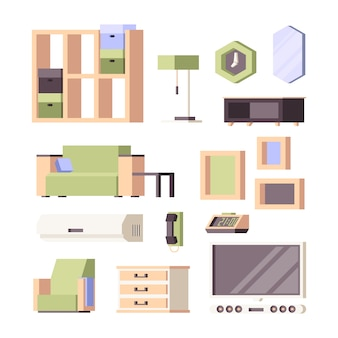 Meubels. woonkamer interieur items kamerplanten stoelen tafels kledingkast bed stoelen orthogonale collectie