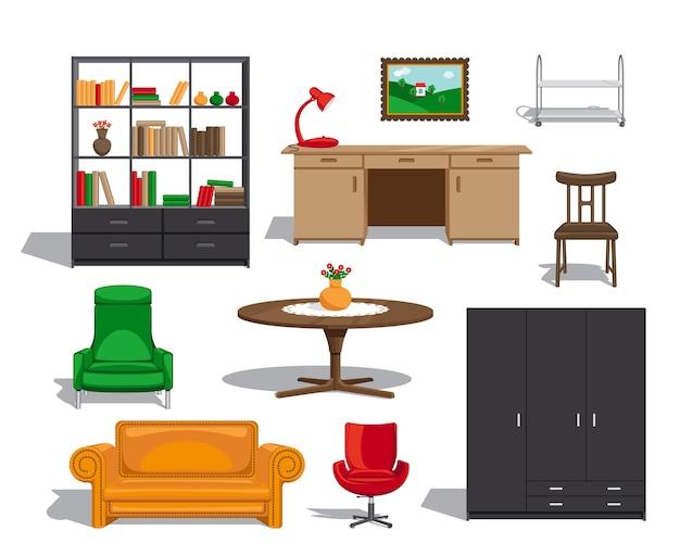 Meubelset. bank en tafel, stoel en boekenkast en fauteuil.