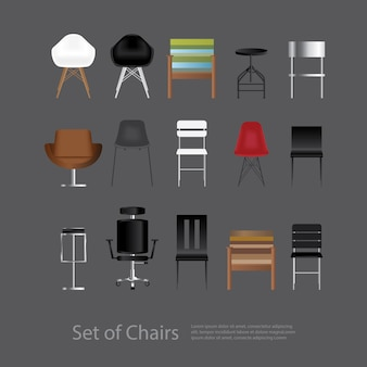 Meubelset van stoel vectorillustratie
