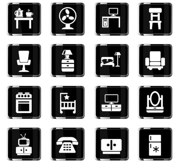 Meubelwebpictogrammen voor gebruikersinterfaceontwerp