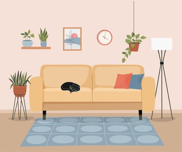 Meubilair: bank, boekenkast, foto. woonkamer interieur. slapende kat.