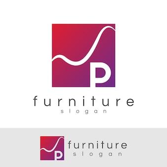 Meubilair initiaal letter p logo ontwerp