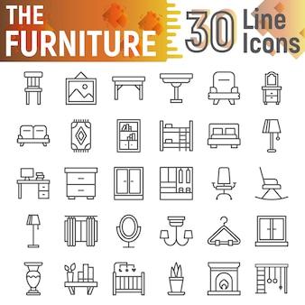 Meubilair lijn icon set, interieur symbolen collectie