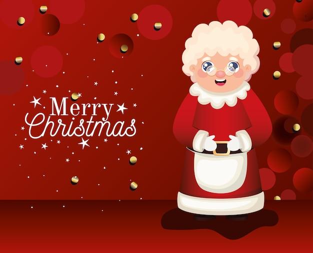 Mevrouw de kerstman met vrolijk kerstfeest belettering op rode achtergrond afbeelding