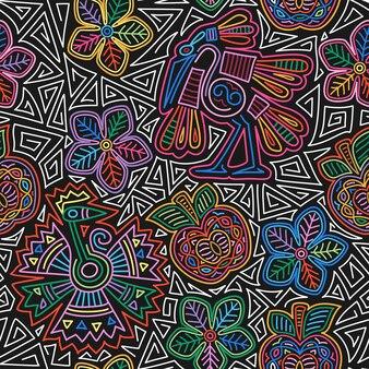 Mexicaans borduurwerk naadloos patroon kleurrijk en sierlijk etnisch patroon vogels en bloemen donkere achtergr...