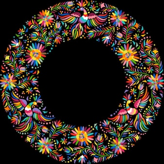 Mexicaans borduurwerk rond patroon. kleurrijk en sierlijk etnisch kaderpatroon.