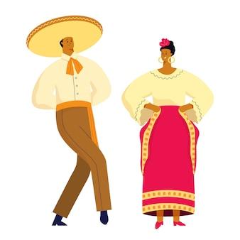 Mexicaans dansend paar in traditionele kostuums en symbolen.