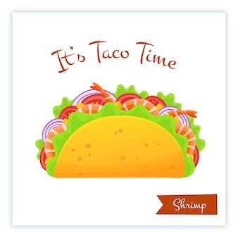 Mexicaans de taco'svoedsel van keukengarnalen