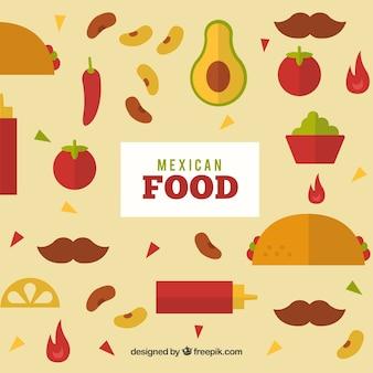 Mexicaans eten achtergrond met platte ontwerp