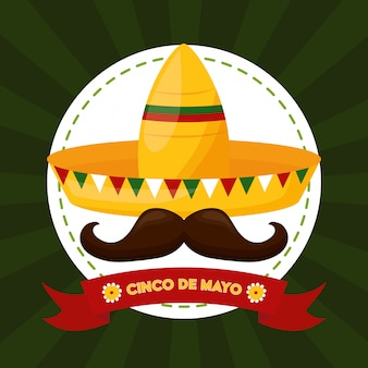 Mexicaans eten en snor, cinco de mayo, mexico illustratie