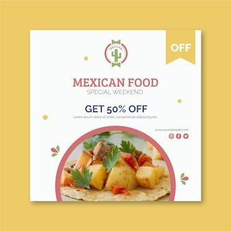 Mexicaans eten flyer vierkant