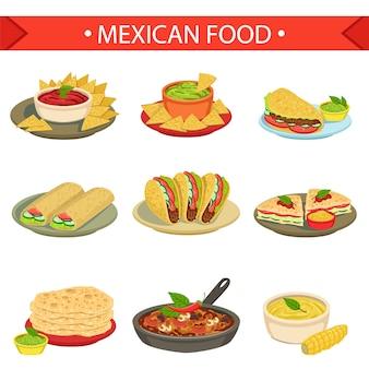 Mexicaans eten handtekening gerechten illustratie set