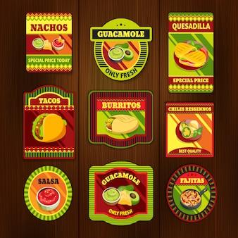 Mexicaans eten heldere kleurrijke emblemen