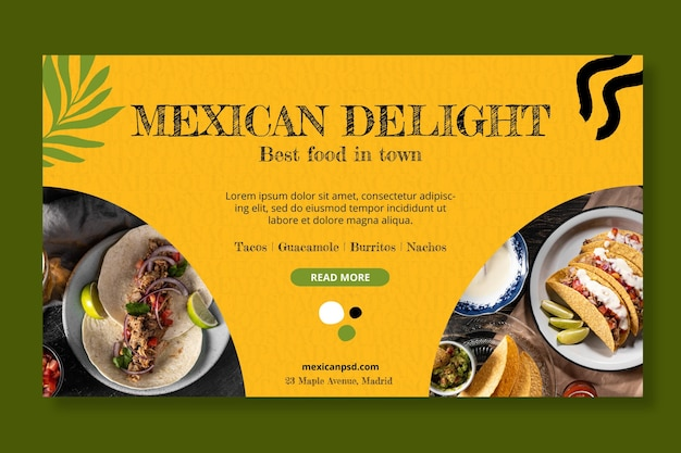 Mexicaans eten horizontale sjabloon voor spandoek