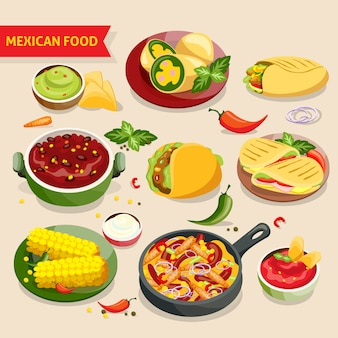 Mexicaans eten ingesteld