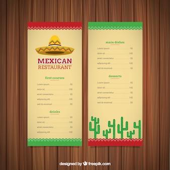 Mexicaans eten menu met een mexicaanse hoed en cactus