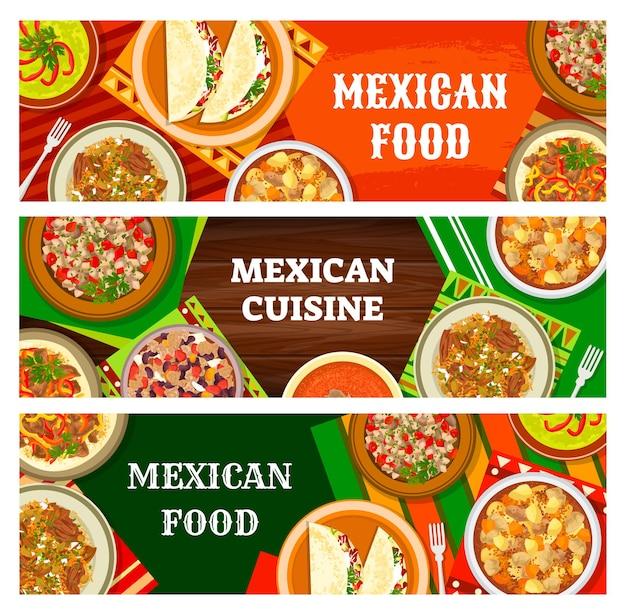 Mexicaans eten menu, mexicaanse gerechten maaltijden banners