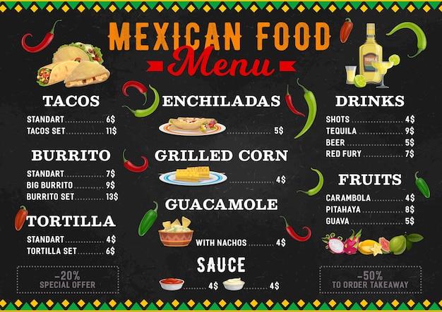 Mexicaans eten menu, mexicaanse keuken