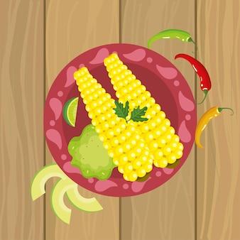 Mexicaans eten met maïskolf en peper