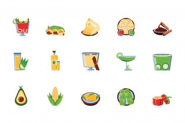 Mexicaans eten pictogram decorontwerp