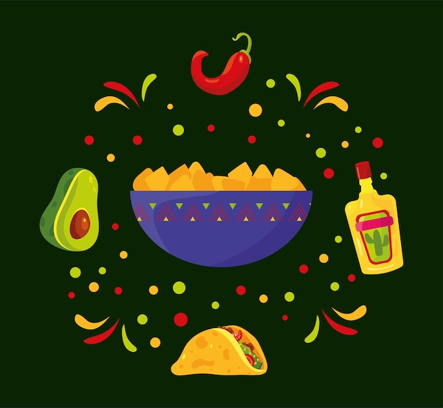 Mexicaans eten pictogrammen instellen