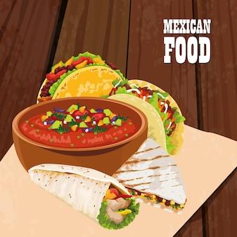Mexicaans eten poster met taco's